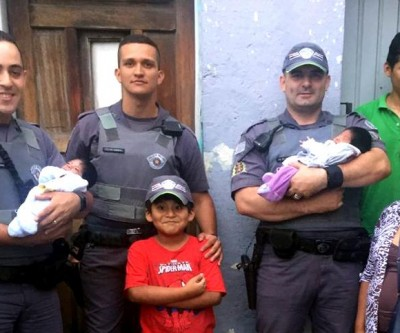 Policiais Militares se unem para presentear casal de gêmeos recém-nascidos que eles mesmos ajudaram a trazer à luz