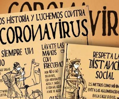 Campanha contra o coronavírus ilustrada com temática Inca