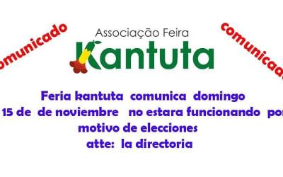 Feira Kantuta não funciona neste domingo 15 de novembro