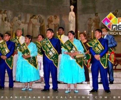 Morenada Bolivia Central, com devoção à Virgem de Copacabana em São Paulo