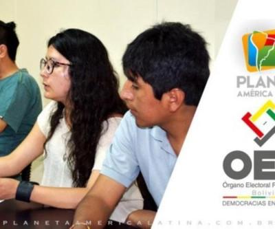 Reunião da equipe de Empadronamiento Eleitoral Boliviana com comunicadores do CCI