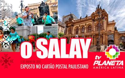 A fachada do Theatro Municipal foi palco de clip folclórico boliviano em São Paulo