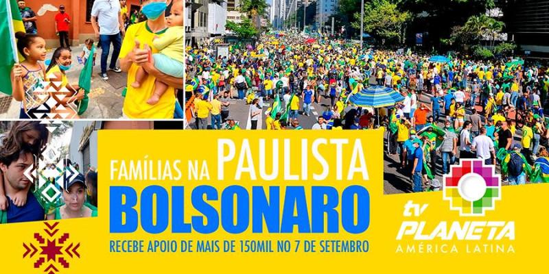 Manifestantes pró Bolsonaro lotam a Paulista no 7 de setembro