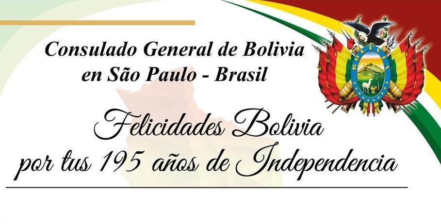 Nota oficial em comemoração aos 195 anos da independência da Bolívia