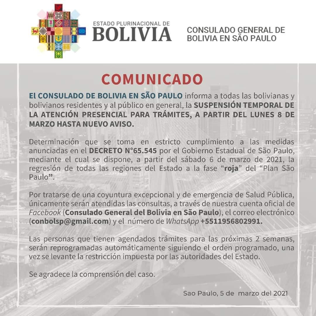 Consulado boliviano suspende atendimento presencial a partir de segunda-feira 08/03/21