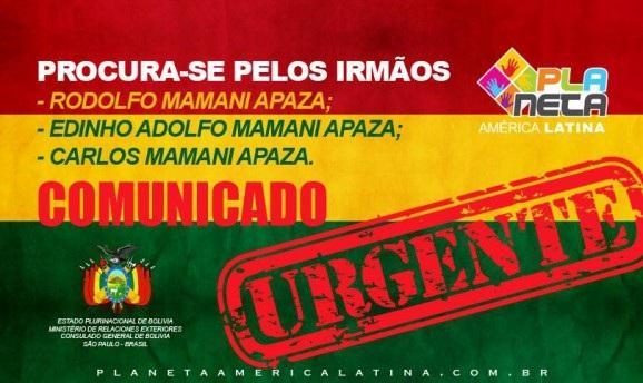 Comunicado Urgente do Consulado Boliviano em SP