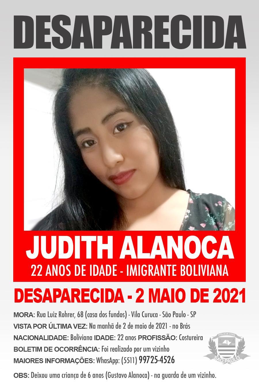 DESAPARECIDA - Judith Alanoca de nacionalidade boliviana