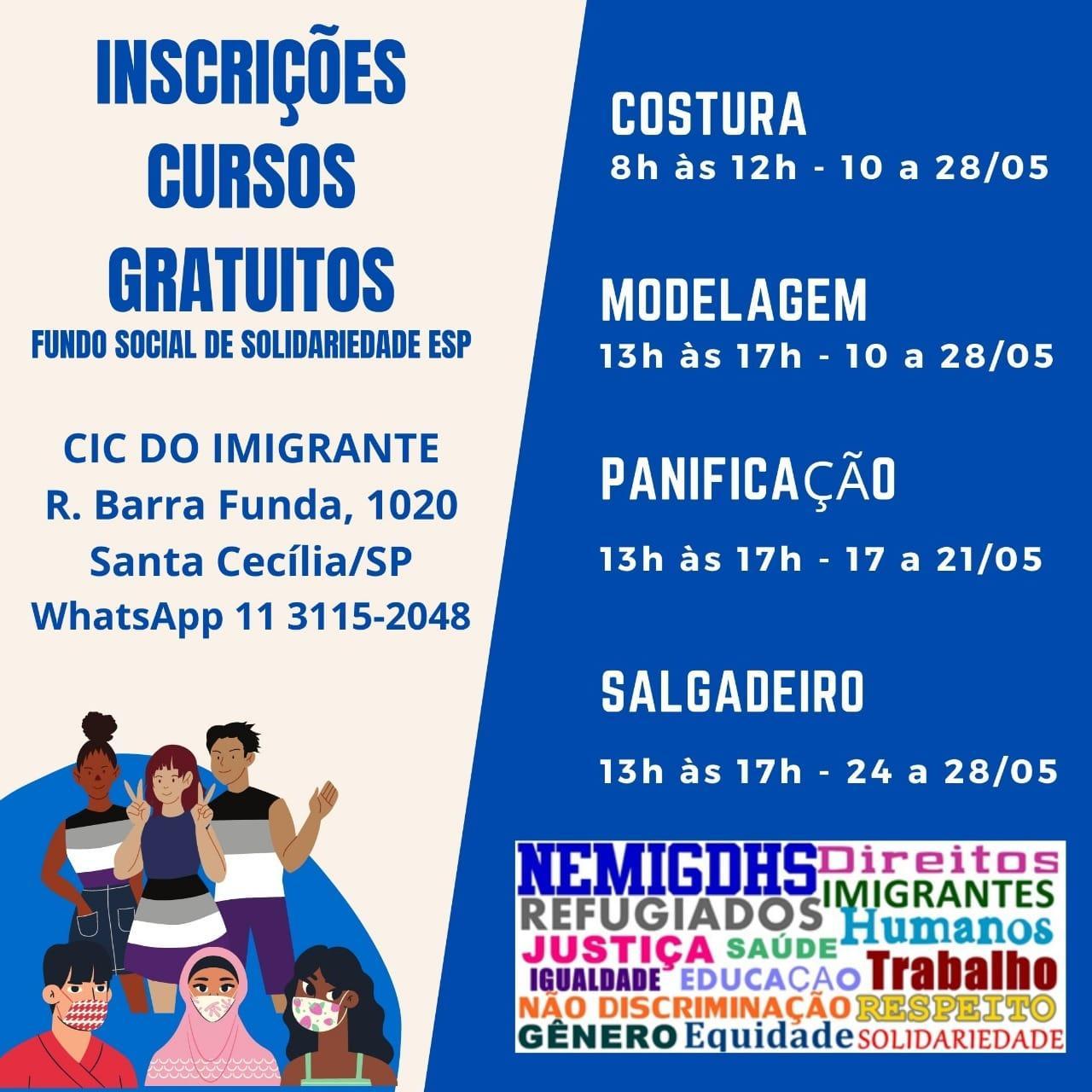 Cursos gratuitos para imigrantes e refugiados