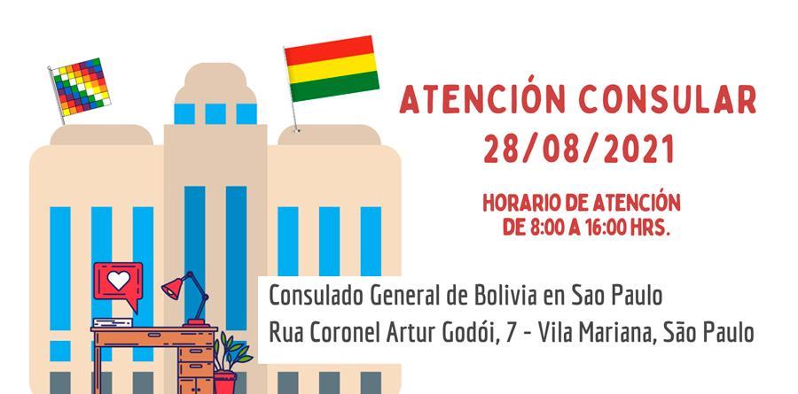 Consulado boliviano atenderá neste sábado 28 de agosto em São Paulo